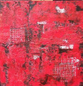 Gitterrot Acryl 50 x 50 cm