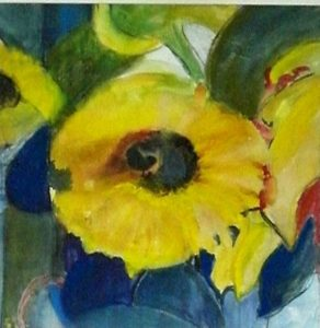 Sonnenblume Aquarell 30 x 30 cm